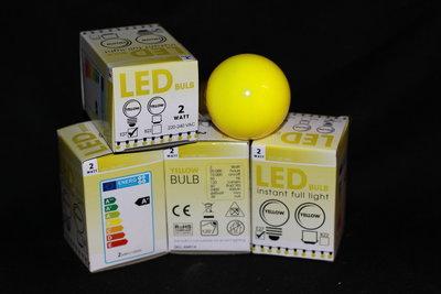 LEDlamp met Gele kunststofkap  en 2 watt.